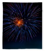 Blue Firework Flower Fleece Blanket
