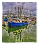 Blue Fishing Boat Hdr Fleece Blanket