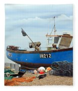 Blue Fishing Boat Fleece Blanket