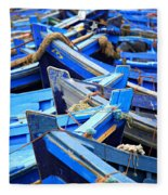 Blue Fishing Boats Fleece Blanket