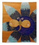 Blue Flower And Dragonfly Fleece Blanket