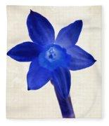 Blue Flower Beige Texture Fleece Blanket