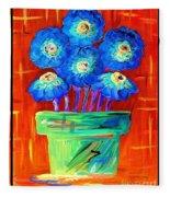 Blue Flowers On Orange Fleece Blanket