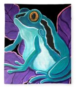 Blue Frog Purple Flower Fleece Blanket