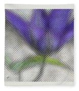 Blue Glass Flower Fleece Blanket