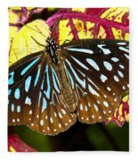 Blue Glassy Tiger Butterfly Fleece Blanket