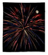 Blue Gold Pink And More - Fireworks And Moon Fleece Blanket