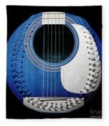 Blue Guitar Baseball White Laces Square Fleece Blanket