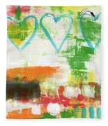 Blue Hearts- Abstract Painting Fleece Blanket by Linda Woods