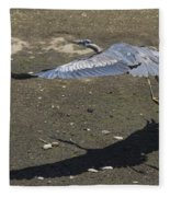 Blue Heron And Shadow Fleece Blanket