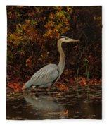 Blue Heron In The Fall Fleece Blanket