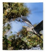 Blue Heron In The Trees Oil Fleece Blanket