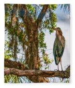 Blue Heron In Tree Fleece Blanket
