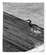 Blue Heron On Dock - Grayscale Fleece Blanket