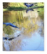 Blue Herons On Golden Pond Fleece Blanket