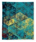 Blue Hexagon Fractal Art 2 Of 3 Fleece Blanket