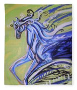 Blue Horse Fleece Blanket