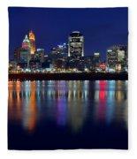 Blue Hour In Cincinnati Fleece Blanket