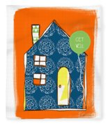 Blue House Get Well Card Fleece Blanket