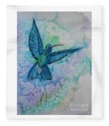 Blue Hummingbird In Flight Fleece Blanket