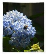 Blue Hydrangea With Bumblebee Fleece Blanket