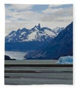 Blue Icebergs On Grey Lake In Patagonia Fleece Blanket