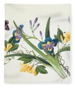 Blue Iris And Insects Fleece Blanket