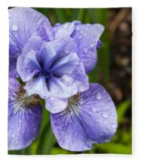 Blue Iris Flower Raindrops Garden Virginia Fleece Blanket