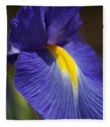 Blue Iris With Yellow Fleece Blanket