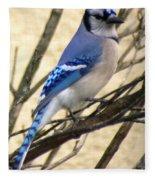 Blue Jay In A Bush Fleece Blanket