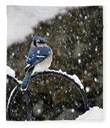 Blue Jay In Snow Storm Fleece Blanket
