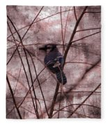 Blue Jay In The Willow Fleece Blanket