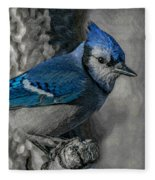 Blue Jay Painterly Fleece Blanket