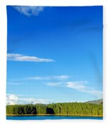 Blue Lake And Green Hills Fleece Blanket