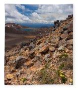 Blue Lake Of Tongariro National Park New Zealand Fleece Blanket