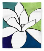 Blue Magnolia 1- Floral Art Fleece Blanket