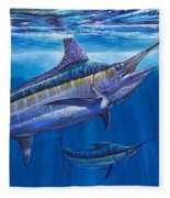 Blue Marlin Bite Off001 Fleece Blanket