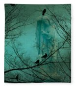 Angel And Crows In A Blue Mist Fleece Blanket