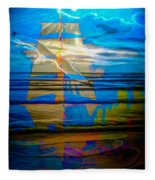 Blue Moonlight With Seagull And Sails Fleece Blanket