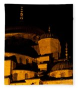 Blue Mosque At Night 02 Fleece Blanket