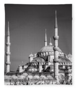 Blue Mosque Black And White Fleece Blanket