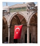 Blue Mosque Courtyard Portico Fleece Blanket