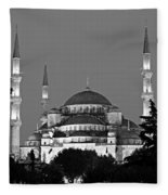 Blue Mosque In Black And White Fleece Blanket