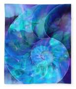 Blue Nautilus Shell By Sharon Cummings Fleece Blanket