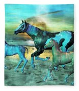 Blue Ocean Horses Fleece Blanket