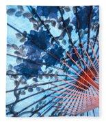 Blue Ornamental Thai Umbrella Fleece Blanket
