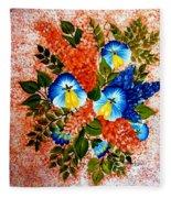 Blue Pansies Bouquet Fleece Blanket
