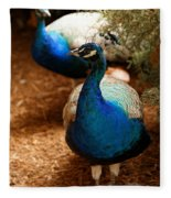 Blue Peacocks Fleece Blanket