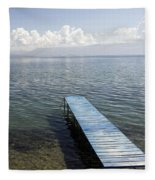 Blue Pier At Lake Ohrid Fleece Blanket
