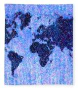 Blue Pointillist World Map Fleece Blanket